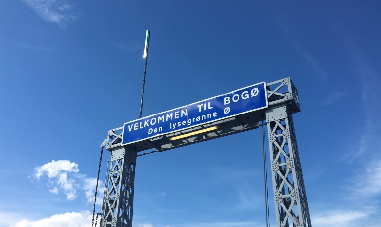 Bogø welcome sign in Denmark