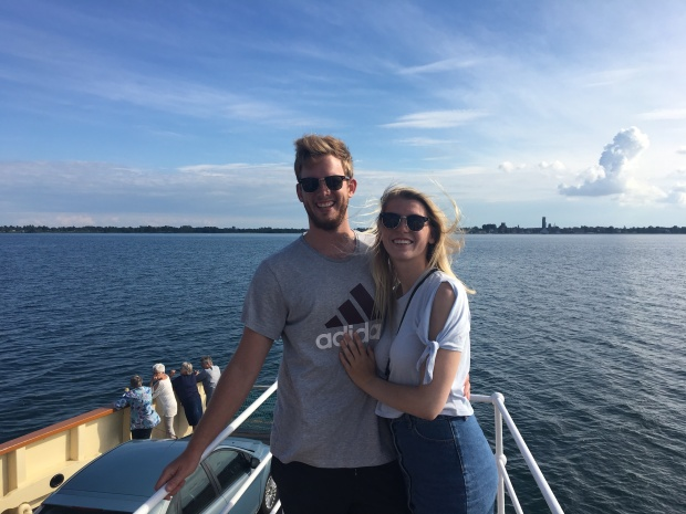 couple on a ferry to Stubbekøbing in Denmark