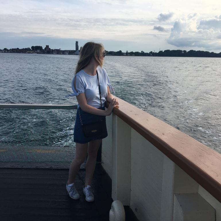 girl on a boat in Denmark at Bogø