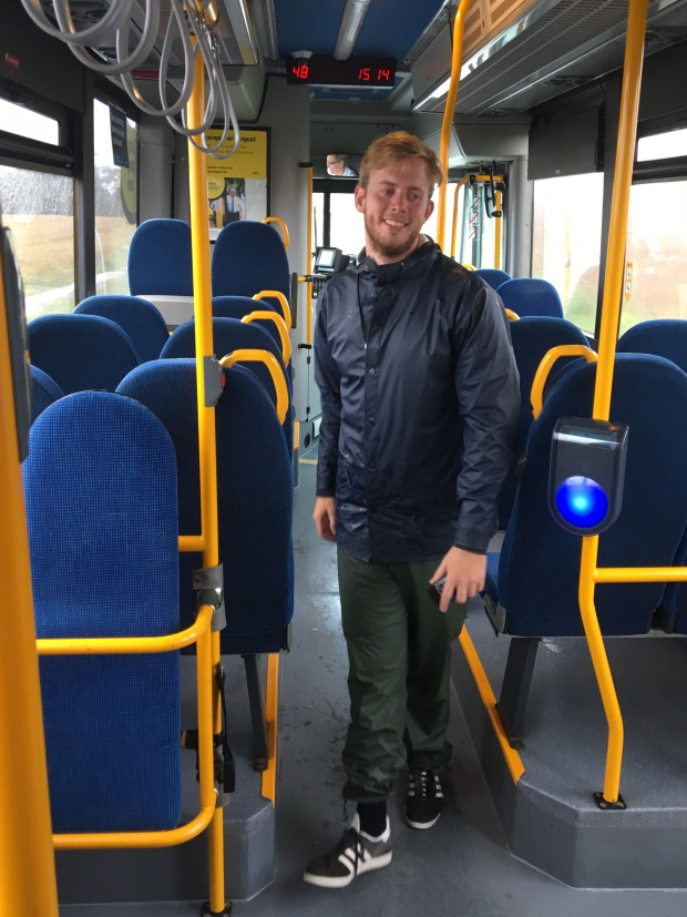 boy looking away on a bus in Denmark